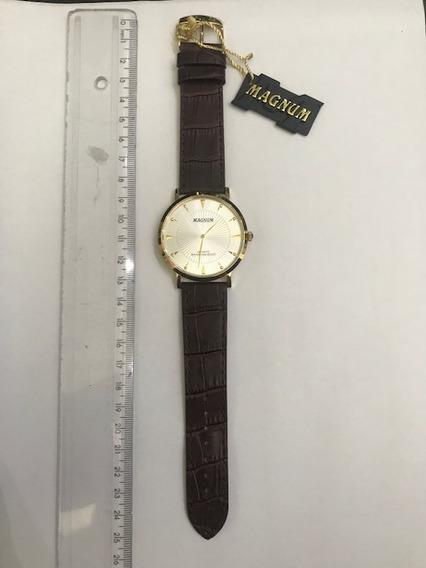 Relógio, Magnum, Dourado, Pulseira De Couro Marrom, Garantia
