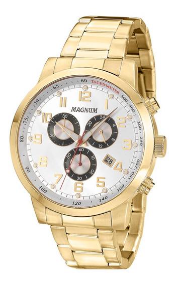 Relógio Magnum Multifunção Dourado Ma33166h