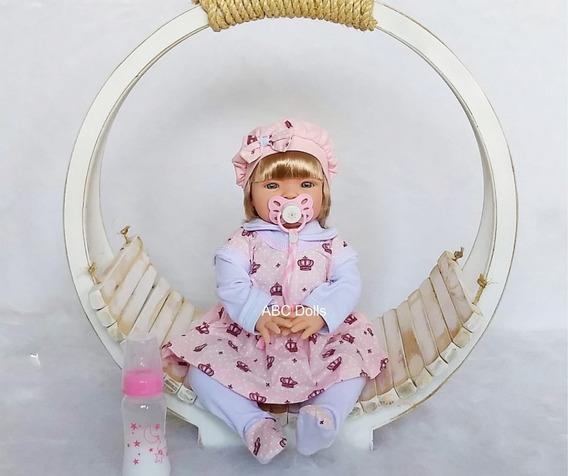 Reborn Boneca Realista Com Enxoval E Bolsa Para Bebe Reborn