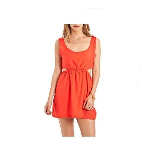 Vestido Corto Sin Mangas Naranja - Recorte O Calado Lateral