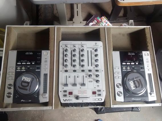 Par De Cdj 200 Pioneer, Mixer Behringer Vmx300 Com Case