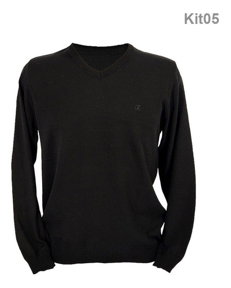Blusa Suéter De Frio Decote V Tricô Casaco Kit Com 05 Peças