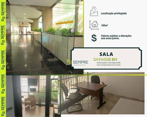 Sala Comercial A Venda 189m² E 02 Vagas Savassi-bh - Sa0103