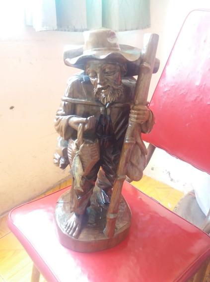 Escultura Anciano De Madera