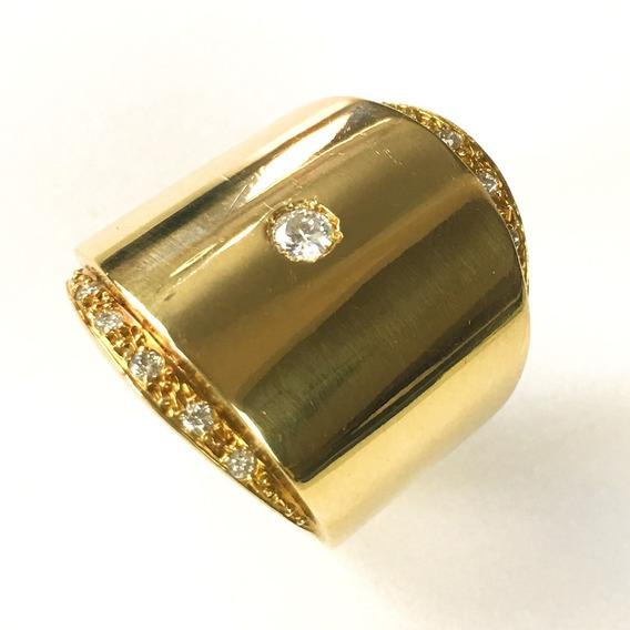 Anel Feminino Ouro 18k Liso Com 11 Brilhantes + Porta Joias 1855