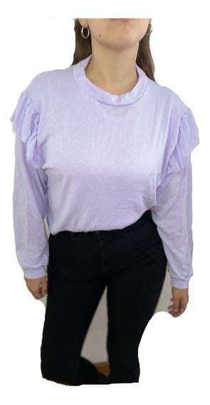 Sweater De Lanilla De Mujer Con Volados