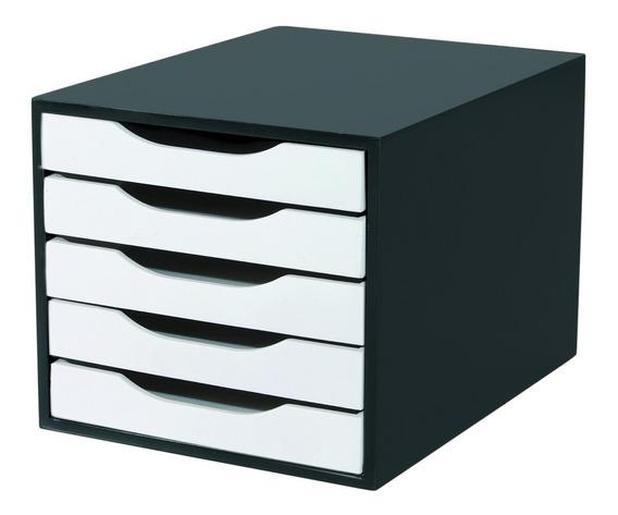 Caixa P/ Arquivo 5 Gavetas Em Mdf Black Piano C/branco Souza