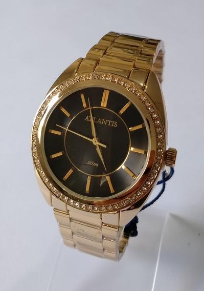 Relógio Feminino Dourado Atlantis G3443 Original