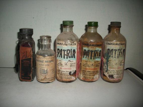 Lote De 5 Botellas, Frascos Antiguas, Limpiametales Y Otros,