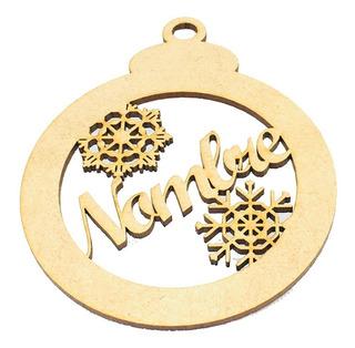 Esferas Navidad Personalizada De 10cm Con Nombre Madera Mdf