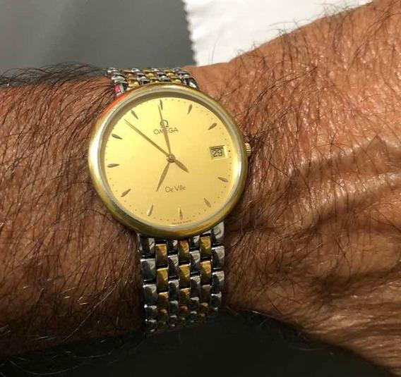 Relógio Ômega De Ville 6 Jewls Original Em Ouro E Aço