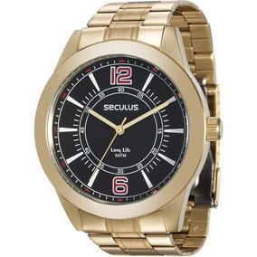 Relógio Seculus Long Life Masculino Dourado 28864gpsvda3