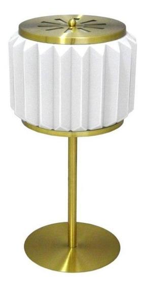 Abajur Em Metal Dourado Com Cúpula De Vidro Branco - 60x30cm