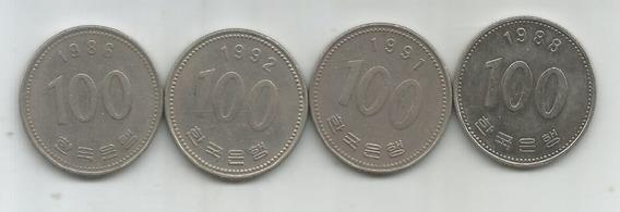M 7779 Corea Del Sur Lote 4 Monedas 100 Won