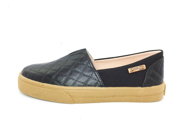 Tênis Slip On Quality Shoes Feminino 002 Matelassê Preto/pre