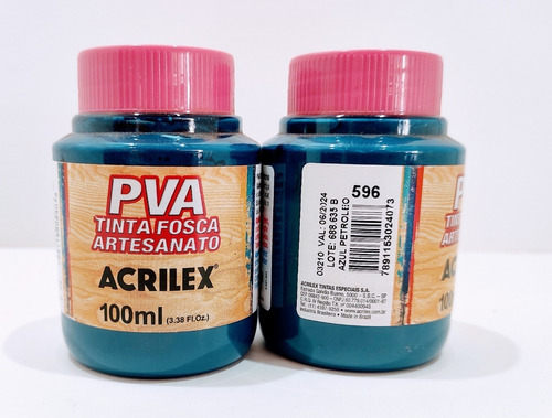 Imagem 1 de 2 de Tinta Pva Fosca Azul Petróleo 100 Ml Acrilex - Cod 596