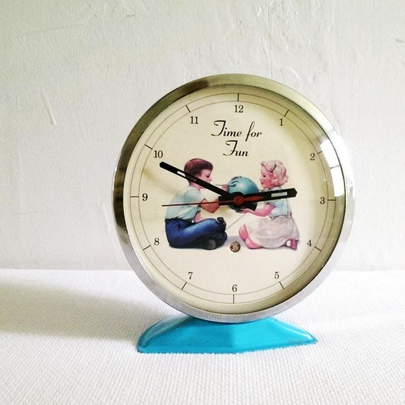 Vintage Reloj Despertador Time For Fun De Niños De Cuerda
