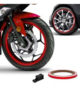 Friso De Roda Refletivo 7mm E Aplicador Adesivo Vermelho 3m