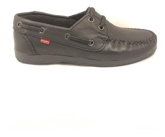 Zapato Colegial Náutico Cuero Unisex Negro Cosido (art 200)