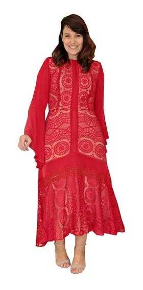 Vestido Maxi Renda Plus Size Lançamento Kauly ( 2652 )