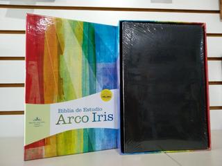 Biblia De Estudio Arco Iris Rvr60 Imit.piel Negro Con Índice