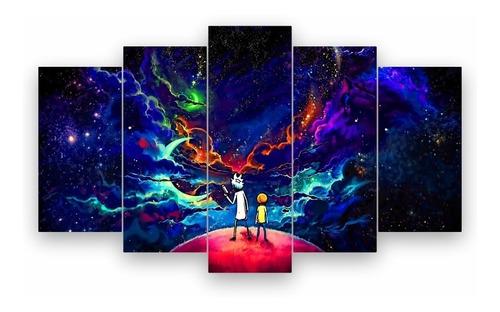 Imagem 1 de 2 de Quadro Mosaico Decoração 5 Peças Psicodélico Rick And Morty