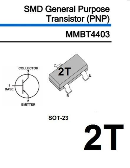 Transistor Mmbt4403 2t Sot23 Smd Pnp 100 Unidades
