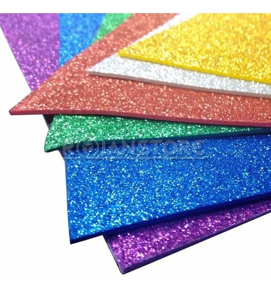 Planchas Goma Eva Brillo Glitter 2mm. 60x40 Cm X 10u X Color