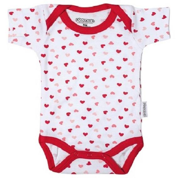 Body De Bebê Com Estampa De Coração E Manga Curta - Pimpolho