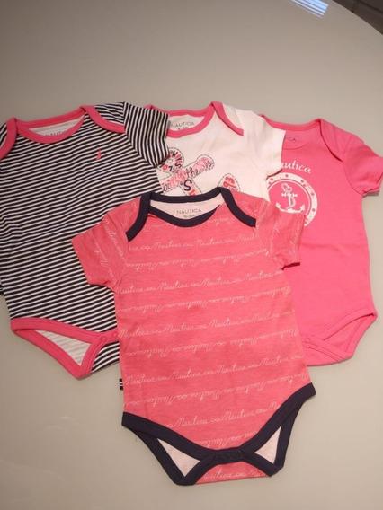 Conjunto De 4 Bodys Feminino Infantil Nautica 6-9 M Original