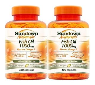 Ômega 3 Sundown Importado Kit 640 C Fish Oil Óleo Peixe Puro