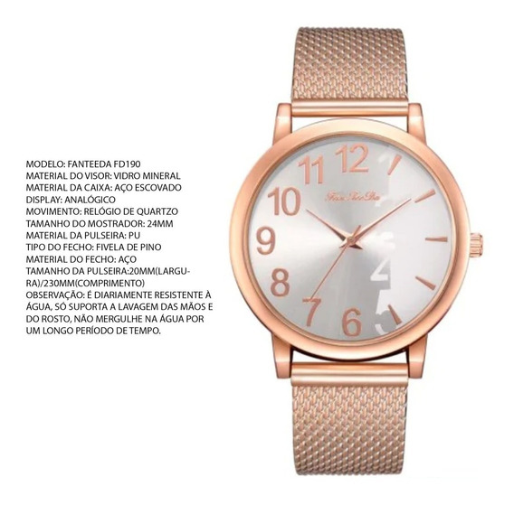 Relógio Barato Feminino, Na Cor Rosa Metálico, Novo