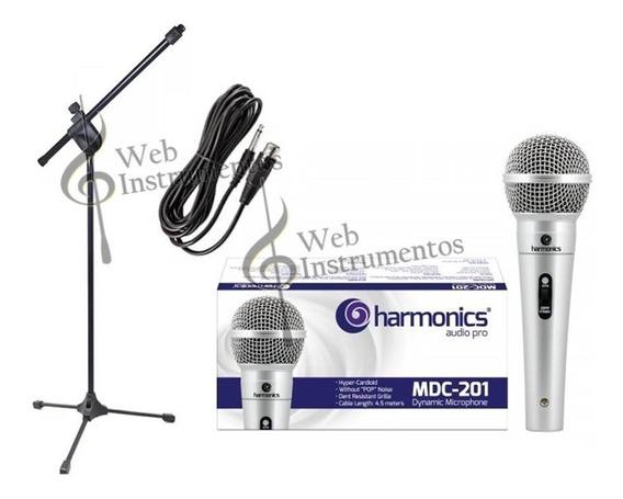 Kit Microfone Profissional Mdc201+pedestal Pmb+cachimbo+cabo