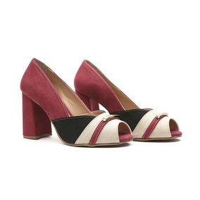 Sapato Salto Peep Toe Feminino Com Detalhe Metal Color