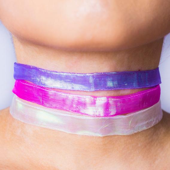 Atacado 30 Choker Holográfico Kit Com Branco Rosa E Roxo