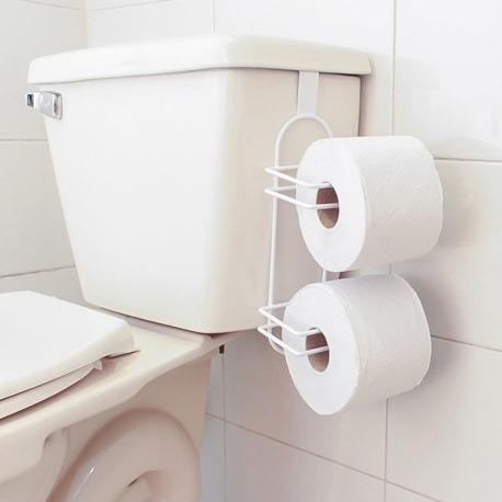 Soporte Doble Papel Higienico Plastificado Blanco