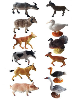 Animales De Granja X12 Juguete De Goma Adorno Jardin Envios