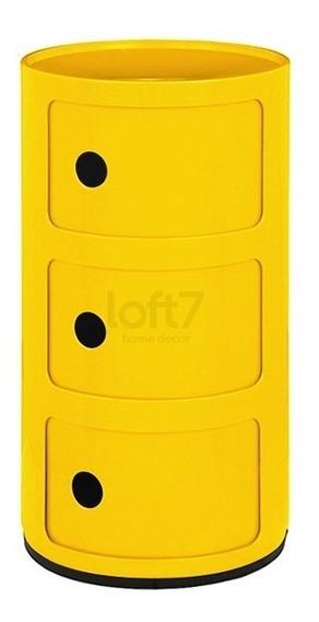 Modulo Criado Mudo 3 Andares Castelli Componibilli Amarelo