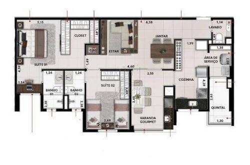 Apartamento Com 2 Dormitórios À Venda, 83 M² Por R$ 655.000,00 - Fundação - São Caetano Do Sul/sp - Ap12193