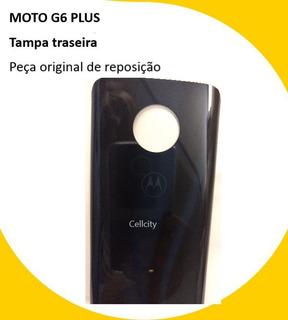 Tampa Traseira Vidro Bateria Azul Moto G6 Plus Vidro Origina