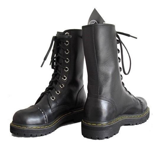 Coturno Vilela Boots Rock - Pespontado 100% Couro Cano Médio