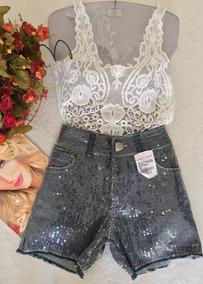 Short Jeans Com Paetês Tam 38