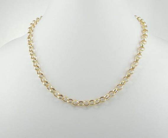 Gargantilha Cordão Feminina Elo Portugues 40cm 4,5g Ouro 18k