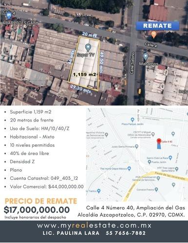 Terreno En Venta En Azcapotzalco De Remate 17 Millones