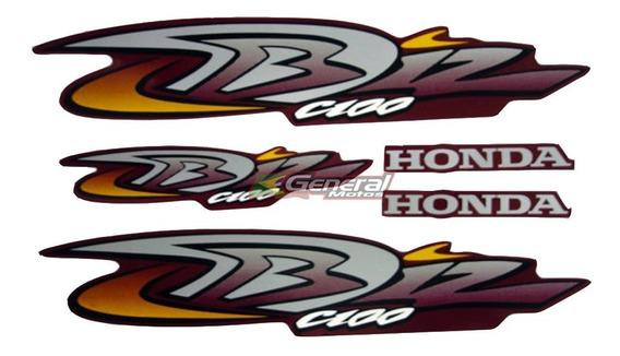 Kit Adesivo Jogo Faixas Moto Honda Biz 100 2004 Ks Vermelha