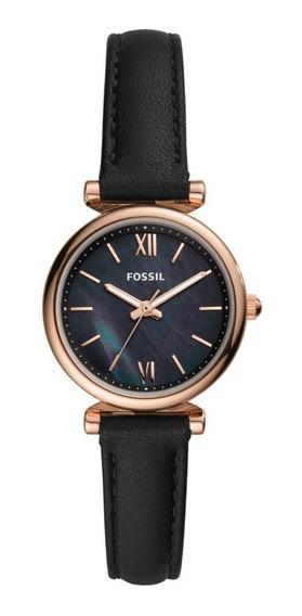 Reloj Dama Fossil Carlie Mini Es4700 Color Negro De Piel