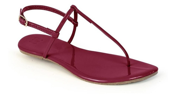 Sandália Flat Mercedita Shoes Verniz Ultra Macia Marsala
