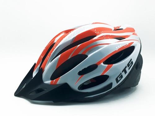 Capacete Com Sinalizador Led Ciclismo Bike Laranja Branco