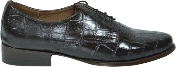 Zapatos Derby Dama Textura Croco Negro/marrón Piel Pikara