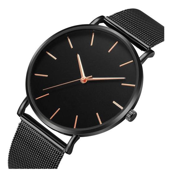 Relógio Feminino Ultrafino Black Design Quartz Pulseira Aço